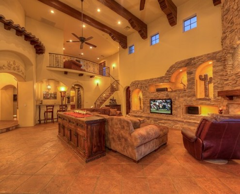 scottsdale luxury family room with loft